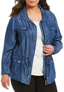 Allison Daley Plus Zip Front Lyocell Denim Anorak Jacket