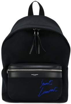 Saint Laurent mini City embroidered backpack - BLACK - STYLE