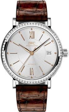 IWC IW458103 Portofino alligator-leather and diamond watch