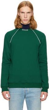 MSGM Green Logo Collar Sweatshirt