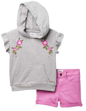 Hudson Heather French Terry Pull-Over & Twill Shorts Set (Toddler Girls)