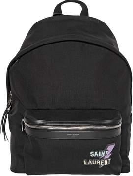 Saint Laurent City Lightening Printed Nylon Backpack