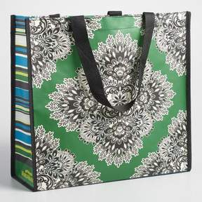 World Market Wide Green Medallion Tote Bag