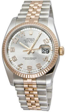 Rolex Oyster Perpetual Datejust 36 Silver Concentric Dial Stainless Steel and 18K Everose Gold Jubilee Bracelet Automatic Men's Watch