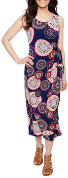 Robbie Bee Sleeveless Circles Maxi Dress-Petites