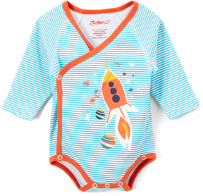 Zutano Pool Blue Rocket Ship Long-Sleeve Bodysuit - Infant