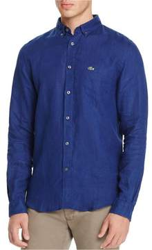 Lacoste Mens Solid Button Up Shirt Blue M