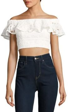 WAYF Cotton Lace Cropped Top