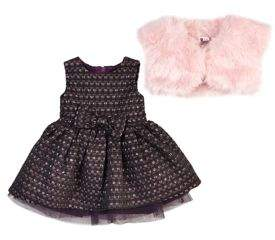Petit Lem Baby Girl's Three-Piece Twinkle Faux Fur Vest, Dress & Bloomers Set