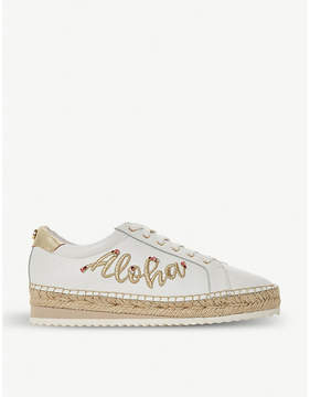Dune Eloha floral embroidered leather espadrilles