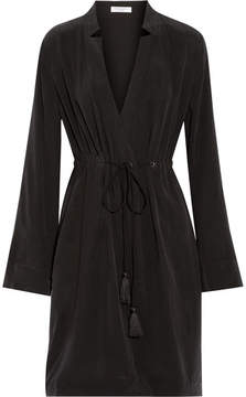 Equipment Stacy Washed-silk Wrap Dress - Black