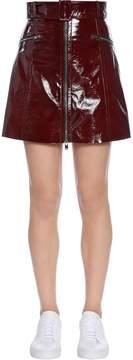 Drome Zip-Up Patent Leather Mini Skirt
