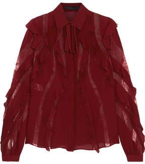 Elie Saab Lace-trimmed Ruffled Silk-blend Crepe De Chine Blouse - Burgundy