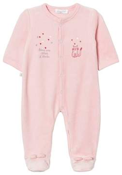 Absorba Pink Cat and Star Embroidered Velour Babygrow