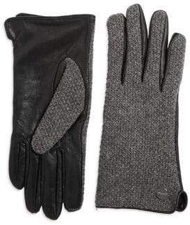 Calvin Klein Wool and Leather Knit Gloves