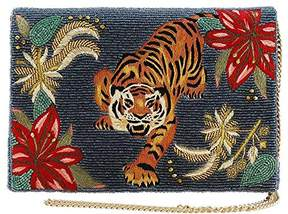 Mary Frances Fierce Beaded-Embroidered Tiger Crossbody Clutch Handbag