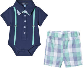 Andy & Evan Navy Polo Shirtzie with Bow Tie and Green Check Shorts