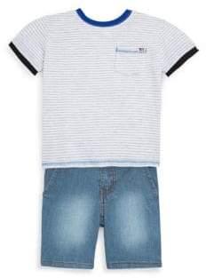 Joe's Jeans Little Boy's Two-Piece Striped Cotton Tee and Denim Shorts Set