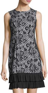 Donna Ricco Lace-Print Ruffle-Hem Sleeveless Dress