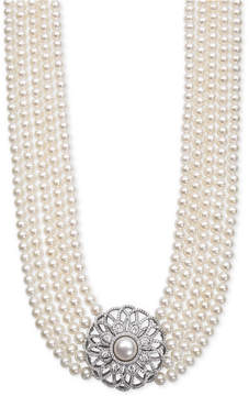Belle de Mer Cultured Freshwater Pearl (5 & 9mm) and Cubic Zirconia Five-Strand Pendant Necklace