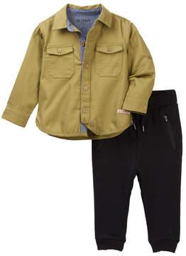 Hudson Button Down Shirt & Fleece Pant Set (Baby Boys)
