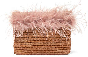 Loeffler Randall Feather-Trimmed Straw Pouch
