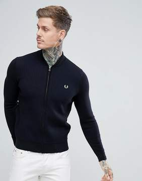 Fred Perry Textured Bomber Cardigan In Black