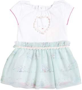 Billieblush Cotton Jersey Romper With Tulle Skirt