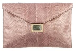 Kara Ross Snakeskin Flap Clutch