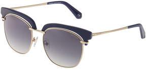 Balmain Round Half-Rimmed Metal Sunglasses