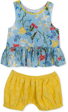 Rare Editions 2-Pc. Floral-Print Top & Bloomer Shorts Set, Baby Girls