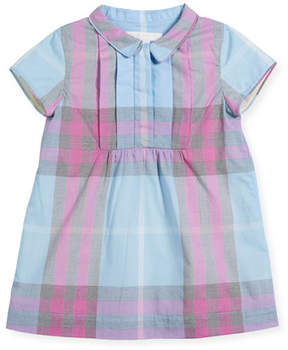 Burberry Taylor Pintucked A-Line Check Dress, Size 6M-3Y