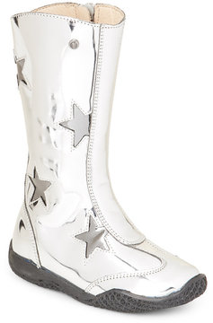 Naturino Toddler/Kids Girls) Silver & Nickel Metallic Cutout Boots