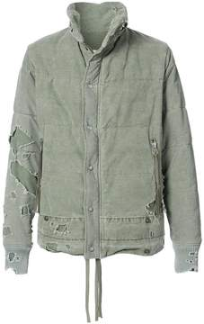 Greg Lauren destroyed tent puffer jacket