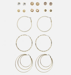Avenue Textured Gold Tone Earring Set