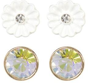 Betsey Johnson Floral & Rhinestone Duo Stud Earrings