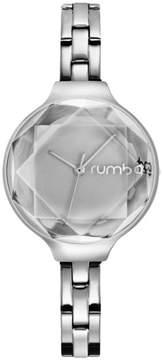RumbaTime Orchard Gem Faceted Crystal Silvertone Stainless Steel Bracelet Watch