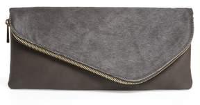 Sole Society Tammi Genuine Calf Hair & Faux Leather Foldover Clutch
