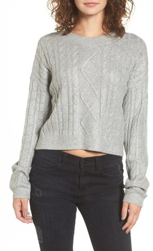BP Women's Metallic Cable Knit Sweater