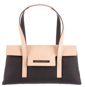 Bvlgari Leather-Trimmed Canvas Bag