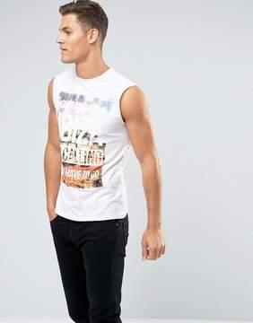 New Look Sleeveless T-Shirt With Amnesia Ibiza Print In White