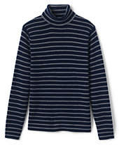 Lands' End Men's Stripe Rib Merino Turtleneck Sweater-Cardinals And Holly