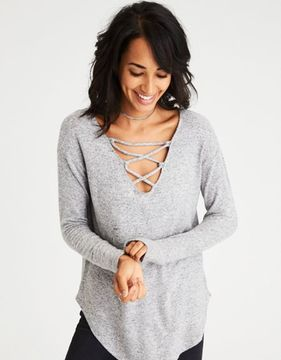 American Eagle Outfitters AE Soft & Sexy Plush Lace-Up V-Neck Sweatshirt