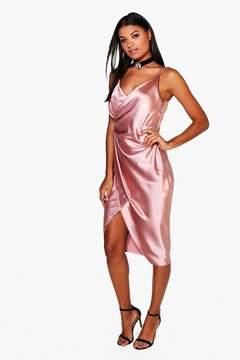 boohoo Gaynor Satin Wrap Strappy Midi Dress