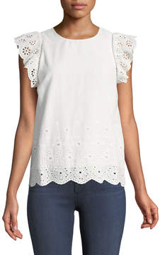J.o.a. Eyelet-Embroidered Cap-Sleeve Blouse