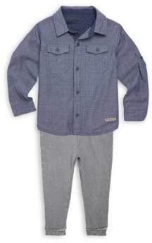 Hudson Little Boy's Two-Piece Chambray Collared Shirt & Cotton Pants Set