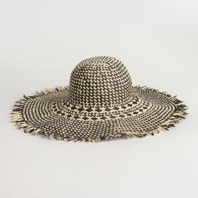 World Market Black and White Raw Edge Sun Hat