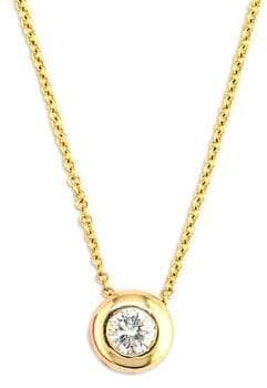 Effy D Oro 14 Kt Gold Diamond Bezel Pendant Necklace
