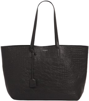 Saint Laurent Croc Embossed Leather Tote Bag - BLACK - STYLE