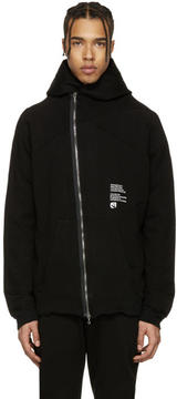 Julius Black Asymmetric Dust Zip-Up Hoodie